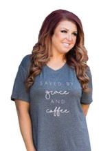 Saved By Grace and Coffee Shirt, Charcoal Gray, X-Small