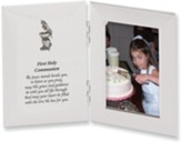 First Holy Communion Hinged Satin Photo Frame, Silver