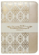 Ephesians 2:10 Zipper Journal, Cream and Gold
