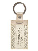 Ephesians 2:10 Keychain, Cream and Gold
