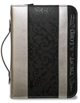 Trust in the Lord, Proverbs 3:5, Bible Cover, Black and Silver, Large