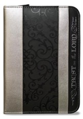 Trust in the Lord, Proverbs 3:5 Zipper Journal, Black and Silver