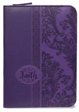 Walk By Faith, 2 Corinthians 5:7 Zipper Journal, Purple