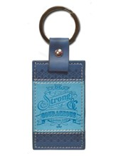 Be Strong & Courageous, Joshua 1:9 Keychain, Two-Tone Blue