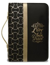 Faith Bible Cover, Black and Gold, X-Large