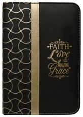 Faith Zipper Journal, Black and Gold