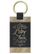 Faith Keychain, Black and Gold