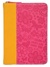 Bloom Zipper Journal, Orange and Pink