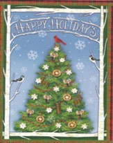 Christmas Cards, Happy Holidays, Tree, Box Of 12