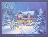Christmas Cards, Christmas Greetings/Night Scene, Box Of 18