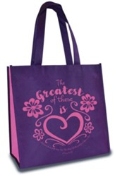 Greatest of These is Love, Eco Tote, Purple and Pink