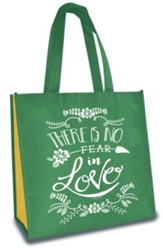 No Fear in Love, Eco Tote, Green and Yellow