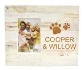 Personalized, Photo Frame Box, 4x6, Paw Prints, White  Wood