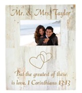 Personalized, Photo Frame Box, 4x6, The Greatest of   These is Love, White Wood