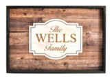 Personalized, Tray with Rustic Wood Look, Family