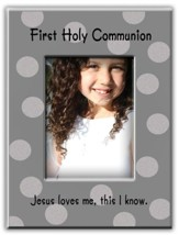 First Holy Communion, Jesus Loves Me, Photo Frame, Silver Polka Dots