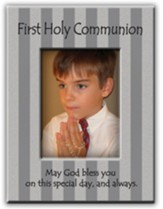 First Holy Communion, May God Bless You, Photo Frame, Silver Stripes