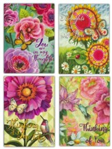 Flowers, Birds and Butterflies Thinking of You Cards, Box of 12