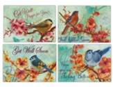 Get Well, Flowers, Birds, Cards, Box of 12