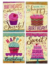 Happy Birthday, Cakes and Cupcakes, Cards, Box of 12