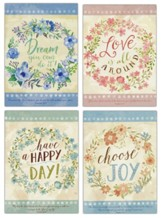 Flower Wreaths, Encouragement Cards, Box of 12