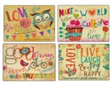 Words, Cupcakes, Owls and Birds, Encouragement Cards, Box of 12