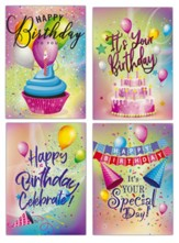 Happy Birthday, Party Colors, Cards, Box of 12