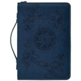 Flying Compass Rose Bible Cover, Navy Blue, Large