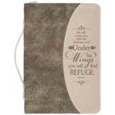 Psalm 91:4 Bible Cover, Gold Flecked Brown, Large