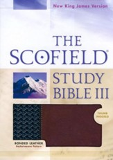 NKJV Scoffield Study Bible III, Basketweave BK/BG,  Bonded Leather, Thumb-Indexed - Imperfectly Imprinted Bibles