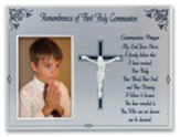 Remembrance of First Holy Communion Steel Satin Photo Frame, Silver