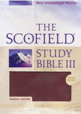 NIV Scofield Study Bible III, Burgundy Bonded Leather, Thumb Indexed 1984