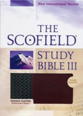 The NIV Scofield Study Bible III (1984), bonded leather  basketweave, black/burgundy--indexed