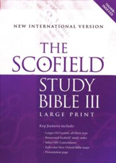 The Scofield Study Bible III, Large Print, NIV Thumb-Indexed  Bonded Leather Burgundy - Slightly Imperfect