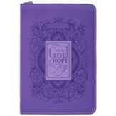 Hope of God Zippered Journal, Purple