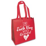 Start Each Day With A Grateful Heart Eco Tote, Red