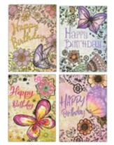 Floral and Butterflies with Gold Accents Birthday Cards, Box of 12