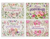 Floral Sprays and Traditional Wording Anniversary Cards, Box of 12