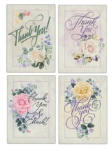 Script Fonts and Roses Thank You Cards, Box of 12