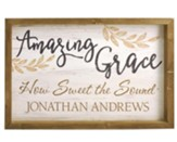 Personalized, Framed Wood Art, Amazing Grace, with Name White