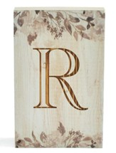 Personalized, Wooden Barnhouse Block, with Vines,  Monogram, Small, White