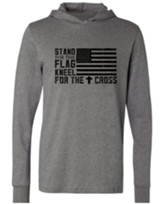 Stand for the Flag Hooded Long Sleeve Shirt, Gray, XX-Large