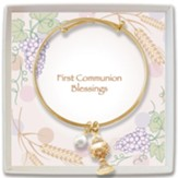 Adjustable Bangle Bracelet with Chalice Charm and Pearl, Gold