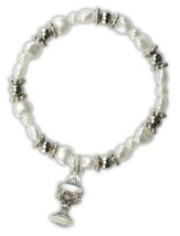White Pearl Heart Bracelet with Chalice Charm