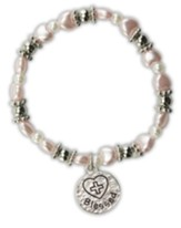 Pink Pearl Heart Bracelet, Blessed Charm, Child's