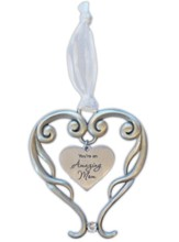 You're An Amazing Mom Heart Ornament with Crystal Accent