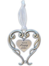 You're An Amazing Sister Heart Ornament with Crystal Accent