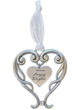 You're An Amazing Daughter Heart Ornament with Crystal Accent