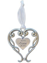 You're An Amazing Teacher Heart Ornament with Crystal Accent