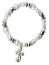 White Pearl Heart Bracelet, Cross Charm, Child's